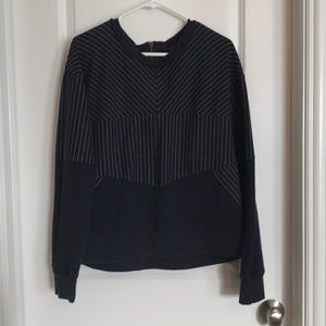 JCrew Navy Pinstripe Sweatshirt XL